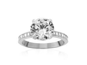 Bez Ambar 18K White Gold Diamond Engagement Ring with 22 Blaze Cut Diamonds weighing .35ct.  Center Diamond Sold Separately.