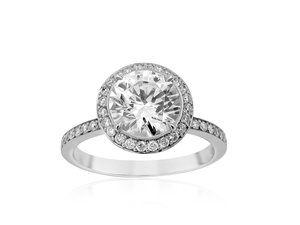 Bez Ambar Thin Pave Frame Engagement Ring, Fashioned in 18K White Gold, Featuring Forty-Eight Round Diamonds =.34cts Total Weight, Center Stone Sold Separately