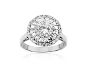Bez Ambar Flower Of Light Engagement Ring, Fashioned in 18K White Gold, Featuring Sixteen Blaze Diamonds =.45cts Total Weight and Thirty Pave Set Diamonds =.24cts Total Weight, Center Stone Sold Separately