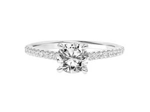 ArtCarved 14K White Gold Diamond Engagement Ring, Featuring 21 Round Diamonds =.22cts Total Weight, Center Stone Sold Separately