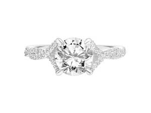 ArtCarved 14K White Gold Diamond Split Twisted Shank Engagement Ring, Featuring 65 Round Diamonds =.25cts Total Weight, Center Stone Sold Separately