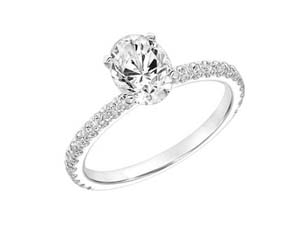 ArtCarved 14K White Gold Engagement Ring, Featuring 25 Round Diamonds =.26ctw, Center Stone Sold Separately