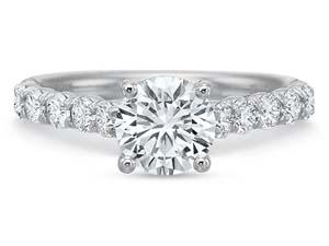 Precision Set Platinum FlushFit Engagement Ring, Featuring 10 Round Diamonds =.50ctw, Center Stone Sold Separately