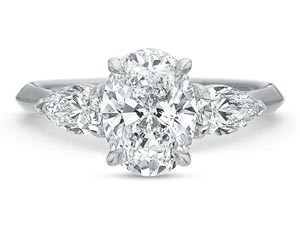 Precision Set 18K White Gold Three-Stone Diamond Engagement Ring, Featuring 2 Pear Shaped Diamonds =.50cts Total Weight, Center Stone Sold Separately