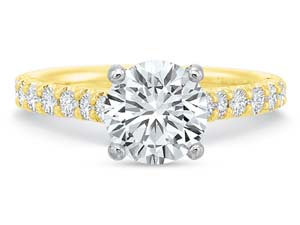 Precision Set 18K Yellow Gold Comfort Fit Prong Set Engagement Ring, Featuring 14 Round Diamonds =.45ctw, Center Stone Sold Separately