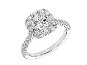 ArtCarved 14K White Gold Cushion Halo Engagement Ring, with 30 Round Diamonds =.75ctw, Center Stone Sold Separately