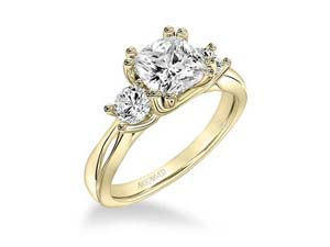 ArtCarved 14K Yellow Gold Three-Stone Engagement Ring, with 2 Round Diamonds =.50ctw, Center Stone Sold Separately
