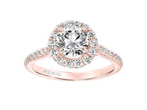ArtCarved 14K Rose Gold Halo Engagement Ring, with 50 Round Diamonds =.50ctw, Center Stone Sold Separately