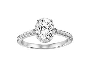 ArtCarved 14K White Gold Halo Engagement Ring, Featuring 31 Round Diamonds =.31CTW, Center Sold Separately
