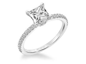 ArtCarved 14K White Gold Engagement Ring, Featuring 33 Round Diamonds =.30CTW, Center Stone Sold Separately