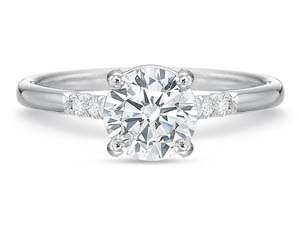 Precision Set 18K White Gold New Aire Engagement Ring, Featuring 8 Round Diamonds =.11ctw, Center Stone Sold Separately