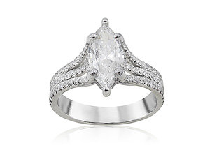 Precision Set 14K White Gold Extraordinary Tri-Split Engagement Ring, Featuring a .85ct Marquise Diamond, H Color, I1 Clarity, Accented with 150 Round Diamonds =.63ctw