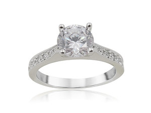 Alson Signature Collection 18K White Gold Single Row Micro Pave Set Milgrain Engagement Ring, Featuring 16 Round Diamonds =.28ctw, G-H Color, VS Clarity, Center Stone Sold Separately