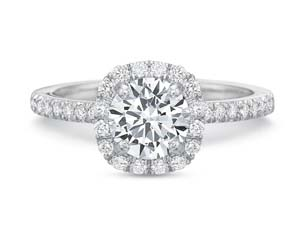 Precision Set 18K White Gold Cushion Halo Engagement Ring, Featuring 36 Round Diamonds =.30ctw, Center Stone Sold Separately