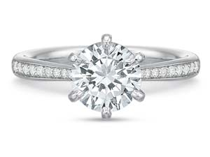 Precision Set 18K White Gold with Platinum Head New Aire Low Profile Six-Prong Beadset Engagement Ring, Featuring 22 Round Diamonds =.12ctw, Center Stone Separately