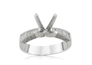 JB Star Platinum Engagement Ring, Featuring 10 Princess Cut and 40 Round Diamonds =.68ctw, Center Stone Sold Separately