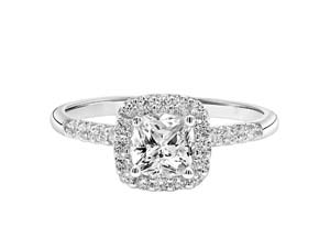 ArtCarved 14K White Gold Cushion Halo Engagement Ring, Featuring 27 Round Diamonds =.29ctw, Center Stone Sold Separately