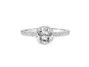 ArtCarved 14K White Gold Bezel & Prong Set Engagement Ring, Featuring 29 Round Diamonds =.30ctw, Center Stone Sold Separately