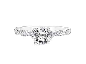 ArtCarved 14K White Gold Twisted Shank Engagement Ring, Featuring 67 Round Diamonds =.26ctw, Center Stone Sold Separately