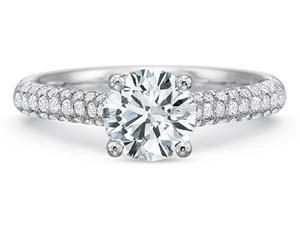 Precision Set 18K White Gold New Aire Three-Row Engagement Ring, Featuring 50 Round Diamonds =.26ctw, Center Stone Sold Separately