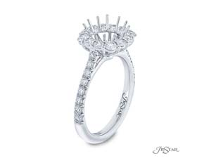 JB Star Platinum Halo Engagement Ring, Featuring 28 Round Diamonds =1.01ctw, Center Stone Sold Separately