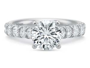 Precision Set 18K White Gold Shared Prong Engagement Ring, Featuring 10 Round Diamonds =.77ctw, Center Stone Sold Separately