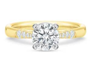 Precision Set 18K Yellow Gold New Aire Engagement Ring, Featuring 8 Round Diamonds =.10ctw, Center Stone Sold Separately