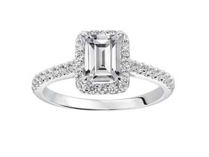 ArtCarved 14K White Gold Emerald Cut Halo Engagement Ring, Featuring 35 Round Diamonds =.34ctw, Center Stone Sold Separately