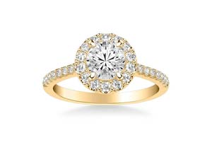 ArtCarved 14K Yellow & White Gold Round Halo Engagement Ring, Featuring 31 Round Diamonds =.46ctw, Center Stone Sold Separately