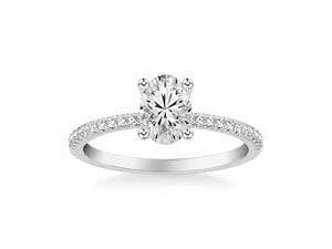 ArtCarved 14K White Gold Single Row Engagement Ring, Featuring 44 Round Diamonds =.25ctw, Center Stone Sold Separately