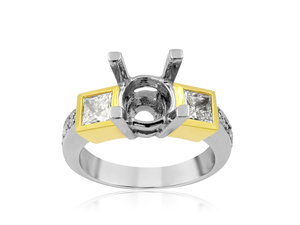 Alson Signature Collection Engagement Ring, Fashioned in Platinum and 22K Yellow Gold, Featuring Two Yellow Princess Cut Diamonds =.69cts Total Weight and Ten Round Diamonds =.17cts Total Weight, Center Stone Sold Separately
