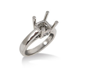 From the Alson Signature Collection, this Platinum Semi Mount Features a 3/4 Princess Cut Basket Head and Four Round Diamonds =.03cts Total Weight