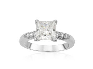 Michael B. Platinum Lace Four-Prong Engagement Ring, Featuring 42 Round Diamonds =.58cts Total Weight, Center Stone Sold Separately