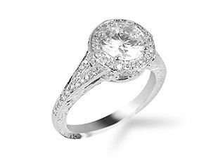 From Penny Preville, this Platinum Victoria Flush Fit Engagement Ring Features Sixty Six Round Diamonds =.56cts Total Weight with Engraved and Milgrain Detail. Center Stone Sold Separately.