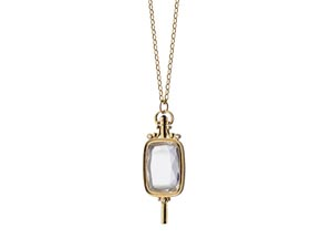 Monica Rich Kosann 18K Yellow Gold Necklace, Featuring a Rectangular Pocketwatch Key, with Rock Crystal, on a 32