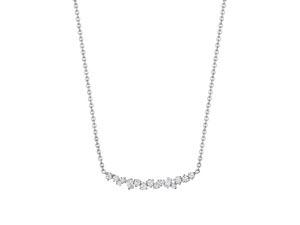 Penny Preville 18K White Gold Stardust Diamond Cluster Bar Necklace