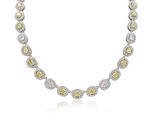 Alson Signature Collection 18K White & Yellow Gold Oval Halo Necklace, Featuring 33 Oval Yellow Diamonds =7.67ctw, 11 Oval White Diamonds =1.98ctw and 530 Round White Diamonds =5.36ctw
