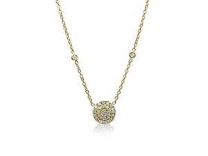 """Penny Preville 18K Yellow Gold 18"""" Double Round Diamond Pendant Necklace"""