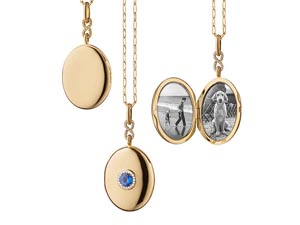 Monica Rich Kosann 18K Yellow Gold Oval Locket Necklace, Featuring a Center .60ct Round Blue Sapphire, Accented with a Diamond Halo and Diamond Pave Infinity Bail =.11ctw, on a 30