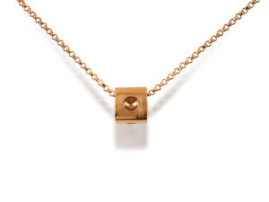 Roberto Coin Mini Pois Moi Cube Necklace, Fashioned in 18K Rose Gold