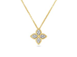 Roberto Coin 18K Yellow & White Gold Princess Flower .17ctw Diamond Necklace