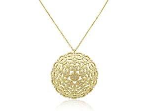Marika 14K Yellow Gold Round Arabesque Pendant Necklace, Featuring 26 Round Diamonds =.26ctw
