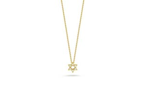 From the Roberto Coin Collection, this 18K Yellow Gold and Diamond Star of David Necklace Features .09cts Total Weight on a Small Link Chain