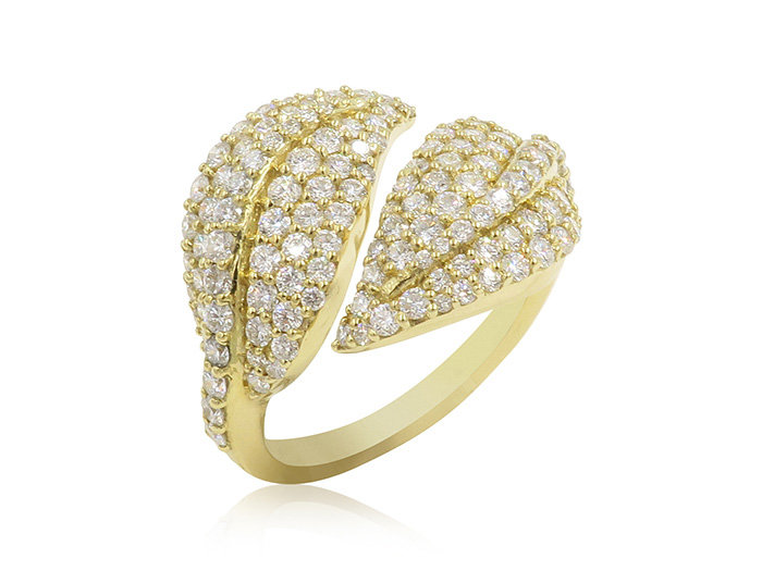 Penny Preville 18K Yellow Gold Diamond Leaf Bypass Ring, Featuring Round Diamonds =1.37cts Total Weight