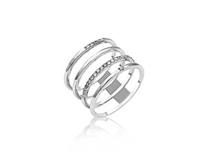 Alson Signature Collection 18K White Gold Four-Row Split Shank Band, Featuring 28 Round Diamonds =.15ctw