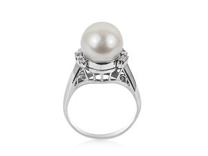 Alson Signature Collection Pearl Ring, Fashioned in Platinum Features One 9.5mm Pearl, Two Baguette & Four Round Diamonds = .20 Cts.