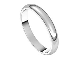 Alson Signature Collection 3MM Half Round Band, Fashioned in 14K White Gold