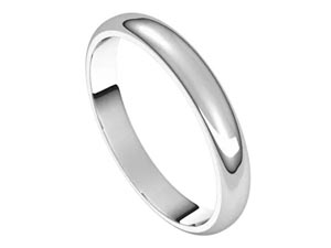 Alson Signature Collection 14K White Gold 3MM Half Round Band