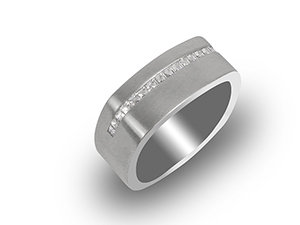 Bez Ambar Men's 18K White Gold Brushed Finish Band, Featuring 17 Blaze Diamonds =.34ctw