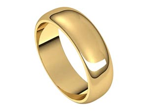 Alson Signature Collection Men's 14K Yellow Gold 6MM Half Round Band